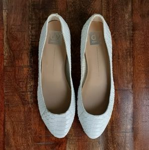 Dolce Vita White Snake Textured Leather Flats